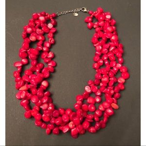 Red Layered Stone Necklace